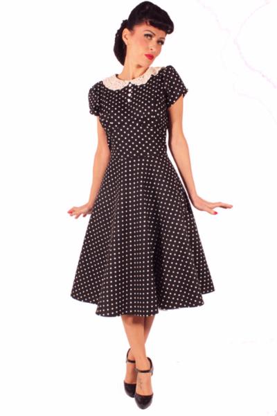 b3717c447b5b85 Gothic Rockabilly retro Polka Dots Häkelspitze Bubikragen Petticoatkleid  Swing Kleid