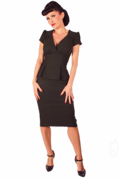 ac7890ec0f15e8 Gothic Rockabilly 40s Uniform Pencil Schößchen Pin Up Retro Kleid - Go